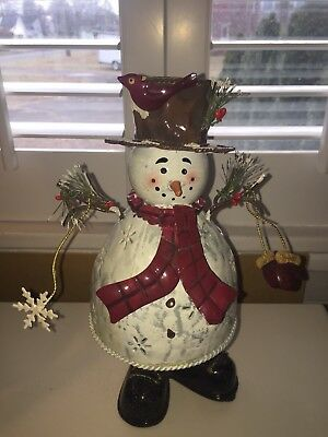"Snowman Luminary Candle Holder Metal Folk Art  11"" Tall Winter Christmas Decor"