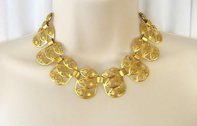 Vtg 40s Egyptian Revival Gold Tone Openwork Cleopatra Style Necklace *SALE*