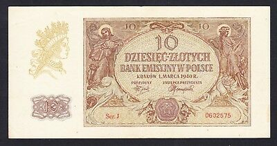 Poland 10 Zlotych  1940  VF P. 94,  Banknote, Circulated