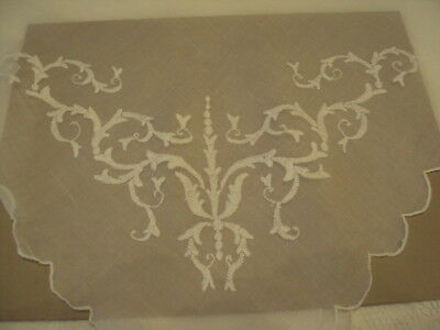 """Antique embroidered square Tableclothe with 4 matching Tea Napkins  40""""X40"""""""