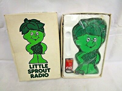 Vintage Novelty Little Green Giant  Sprout Figure AM Transistor Radio W/ Box