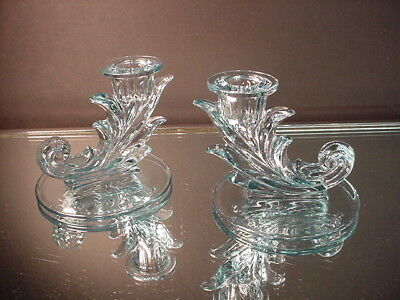 Pr Fostoria Glass Art Deco Sakier Lt Blue Single Candlestick 2496 Elegant Glass