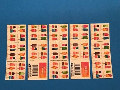 5 Books Of 20 Frozen Treats Scratch & Sniff Usps Forever Stamps 100 Total Mnh