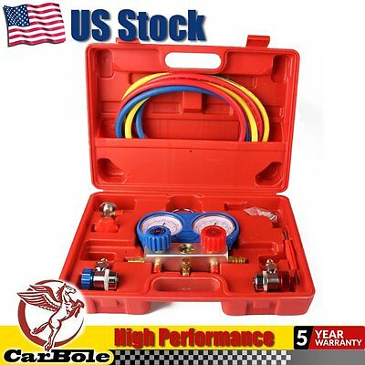 CarBole Refrigeration Kit AC A/C Manifold Gauge Set Air R12 R22 R134a 410a R404z