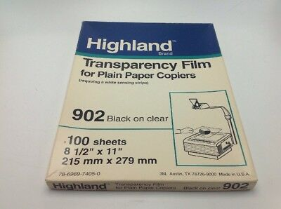 Highland 902 Transparency Film 55 Sheets 8.5 x 11 Copiers Sensing Stripe Open Bx