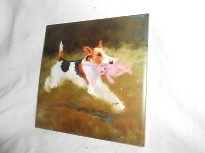 "WIRE FOX TERRIER  6"" x 6"" Ceramic Art Tile Free Shipping"
