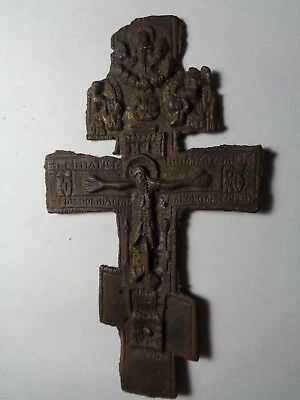 Russian Empire ancient orthodox bronze large icon cross 1800s original 87