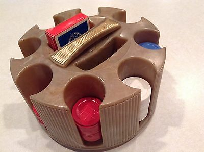 Vintage E.S. Lowe bakelite round poker chip rack with chips and cards