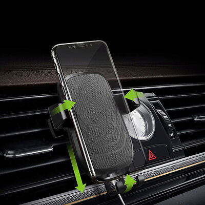 10W Qi Fast Wireless Car Charger Stand Air Vent Mount Holder For Samsung S9 S8
