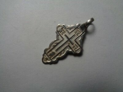 Russian empire old orthodox silver enamel pendant cross 1800-1900 AD original 85