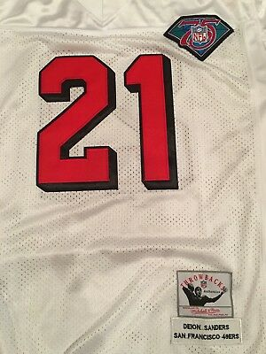 online retailer 6f2b9 9743c DEION SANDERS MITCHELL & Ness White Jersey Sz 50 (Large) 75th NWT White