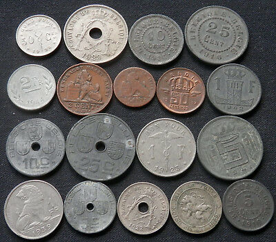 Belgium, 18 Different Type Vintage Coins, 1862 To 1957