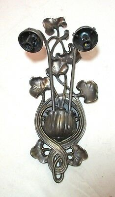 vintage antique style solid bronze ornate lilly pad electric wall sconce fixture