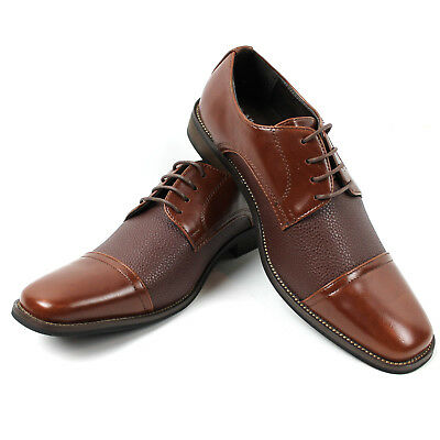 b4fb19ce9f93d Men's Brown Dress Shoes Cap Toe Lace Up Oxfords Leather Lining Alberto  Fellini