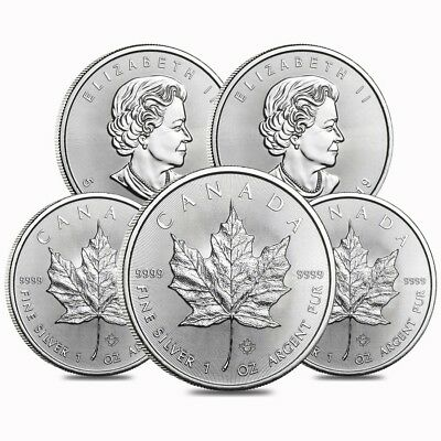 Lot of 5 - 2019 1 oz Canadian Silver Maple Leaf .9999 Fine $5 Coin BU