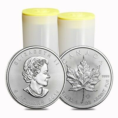 Lot of 50 - 2019 1 oz Canadian Silver Maple Leaf .9999 Fine $5 Coin BU (2
