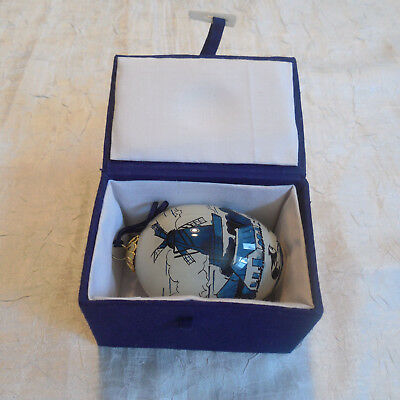 Christmas Tree Holiday Ornament Egg Windmill Sailboat Glass In Box Blue White