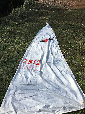"SAILBOAT YACHT MAIN SAIL LUFF 19'6"" LEECH 21' FOOT 7'8"" ROPE in LUFF and FOOT"