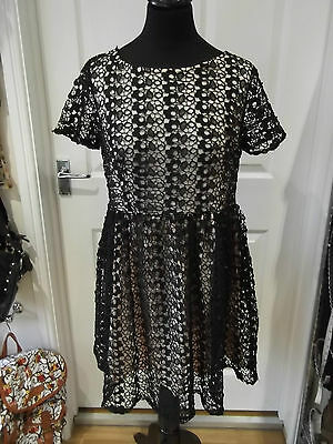 Ex M/&S Marks and Spencer Cotton Embroidered Ombre Hem Skater Dress Size 8-22