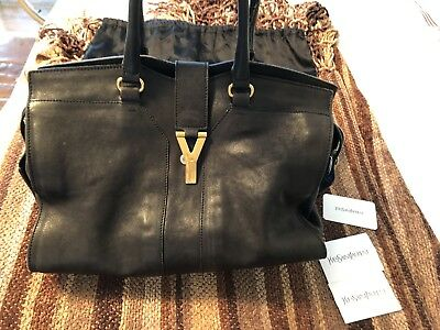14976b21b5d0 YSL YVES SAINT LAURENT Classic Y Buckle Cabas Tote Handbag Bag Black Leather