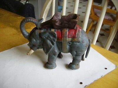 Antique/vintage cast iron Elephant money box possibly from 1880s onwards.