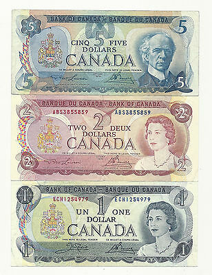 Lot of 3 x CANADA BANK NOTES (Five,Two and One)