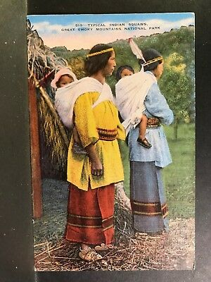 Postcard Cherokee Indian Squaws Great Smokey Mountains National Park