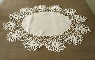 """29"""" Round WHITE Vintage Linen & Lace Doily, Circles, Table Topper"""