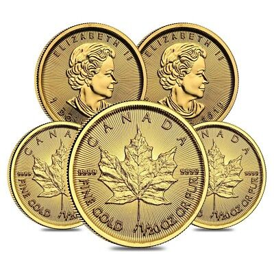 Lot of 5 - 2019 1/20 oz Canadian Gold Maple Leaf $1 Coin .9999 Fine BU (Sealed)