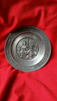 Small vintage pewter plate, Rembrandt, german made