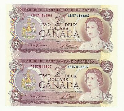 2 x 1974 CANADA TWO DOLLAR BANK NOTE (UNC/CON)