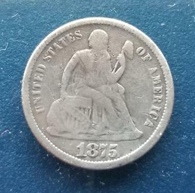 1875 CC Seated Liberty Dime Mint Mark Above Bow
