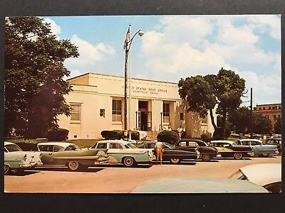 Postcard Kerrville TX c1950s - Post Office - Old Cars
