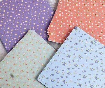 80 JAPANESE LILAC PINK BLUE GREEN FLORAL ORIGAMI PAPER 10cm CRAFT CHINESE a10