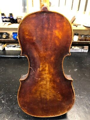 Old Strad Copy, German? 4/4 Violin, Repair - For Parts Vintage. One Piece Back!