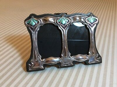 Antique, 1915 Sterling Silver & Enamel, Small Double Photo Frame. Delightful
