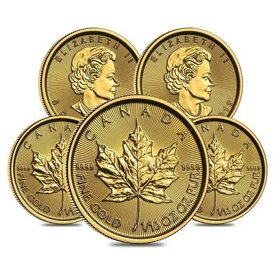 Lot of 5 - 2019 1/10 oz Canadian Gold Maple Leaf $5 Coin .9999 Fine BU (Sealed)