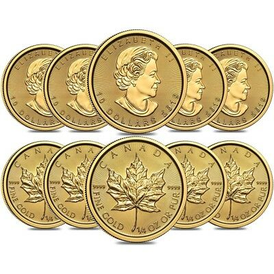 Lot of 10 - 2019 1/4 oz Canadian Gold Maple Leaf $10 Coin .9999 Fine BU (Sealed)