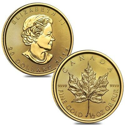 Lot of 2 - 2019 1/2 oz Canadian Gold Maple Leaf $20 Coin .9999 Fine BU (Sealed)