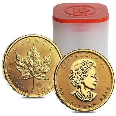 Roll of 10 - 2019 1 oz Canadian Gold Maple Leaf $50 Coin .9999 Fine BU (Lot,Tube