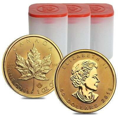 Lot of 30 - 2019 1 oz Canadian Gold Maple Leaf $50 Coin .9999 Fine BU (3