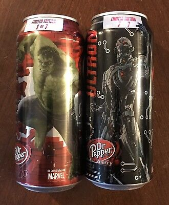Dr. Pepper AVENGERS AGE OF ULTRON Cans 16 Oz HULK & ULTRON - Lot Of 2 Cans