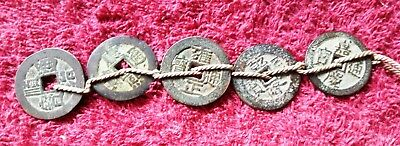 Set 5 Chinese Emperors Dynasty Square Hole Coins in Order.D-2.6cm.collectible