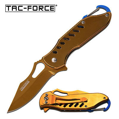 TAC FORCE ASSISTED OPENING FRAMELOCK KNIFE w/ CLIP MIRROR GOLD FINISH TF-906GD
