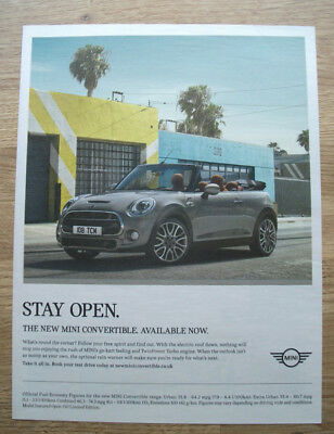 mini convertible - advert - 2016  -  PRESS ADVERT POSTER 11 X 8 in