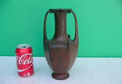 Vintage Meiji Period Arts & Crafts Style Bronze Handled Vase w red brown patina