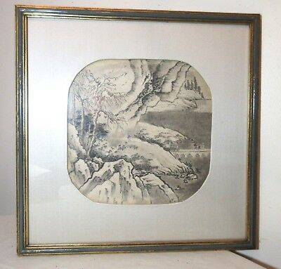 antique original Chinese watercolor mountain landscape scroll framed painting