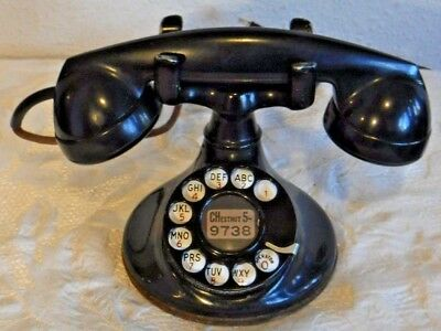 Western Electric 201 Round Base Rotary Dial Desk Set Telephone with F1 Handset