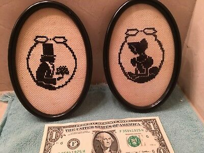 Pair Black on White Cross Stitched Silhouettes Man & Lady Oval Frames Vintage