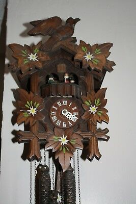 Vintage  Large  Swiss Cuckoo Clock 3 WEIGHTS CUCKOO AND REVOLVING DANCERS